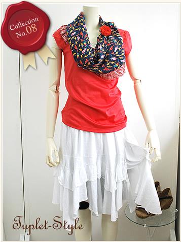 コットンフリルの変形ティアードスカート