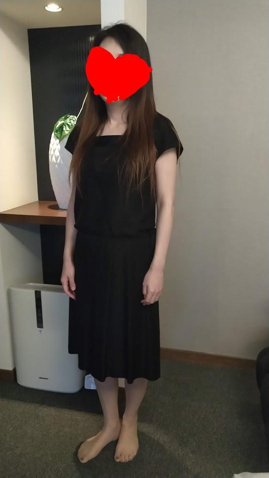 Anne Willi アンヌ・ウィリ カシュクール風のストライプジャカード フレンチ袖ワンピース 黒